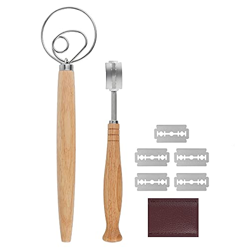 Bread Lame and Danish Dough Whisk Set, Premium Stainless Steel Bread Scoring Knife Tool with 5 Replacement Blades for Baking Cake, Pastry, Dessert, Sourdough, Pizza