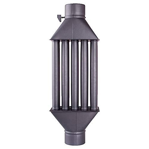 Intercambiador de calor de chimenea Diplomat intercambiador de aire caliente, enfriador de gas de escape negro, diámetro de 130mm, 5 tubos con amortiguador