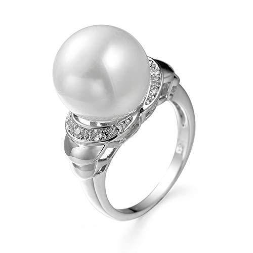 KnBoB Sortija Mujer Anillo de Compromiso Perla Blanco 12 Plateado