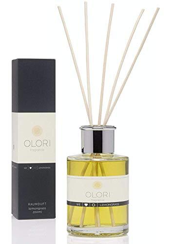 OLORI Raumduft mit Duftstäbchen - Lemongrass - 200 ml - Duftspender in verschiedenen Sorten - natürlich, langanhaltend, frisch, fruchtig, spritzig