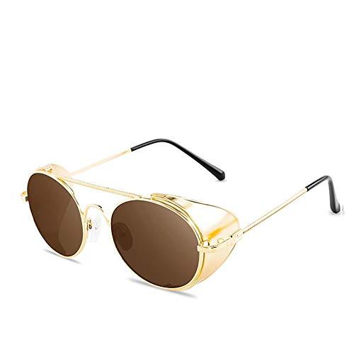 Astemdhj Gafas de Sol Sunglasses Gafas De Sol Estilo Steampunk Retro para Hombres Y Mujeres,Marco De Metal Redondo DeDiseñador,Escudos De Metal Punk, Lentes, Gafas De Sol C4Anti-UV