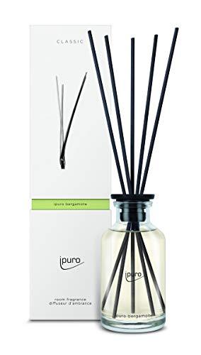 ipuro Classic bergamote Raumduft - Raumduft mit frischer und belebender Wirkung (Zitronengras) - Lufterfrischer mit hochwertigen Inhaltsstoffen 240 ml - mit Rattanstäbchen