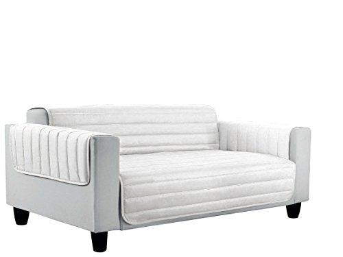 Italian Bed Linen Elegant Copri Divano Trapuntato in Microfibra Anallergica, Doubleface, Bianco, 3 Posti