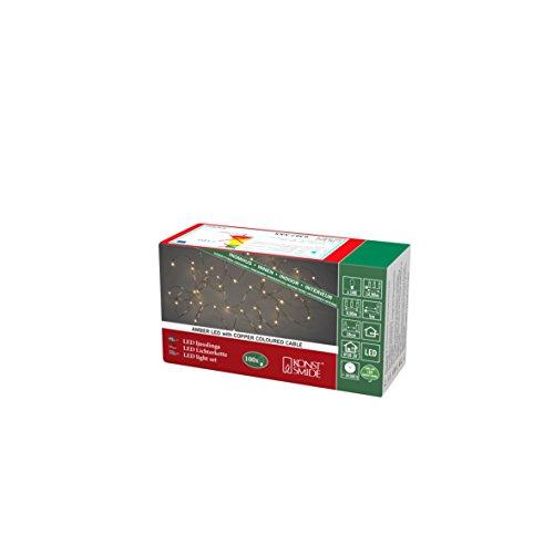Konstsmide, 6387-860, LED Tropfenlichterkette , 100 bernsteinfarbene Dioden, 3V_Innentrafo, kupferfarbener Draht