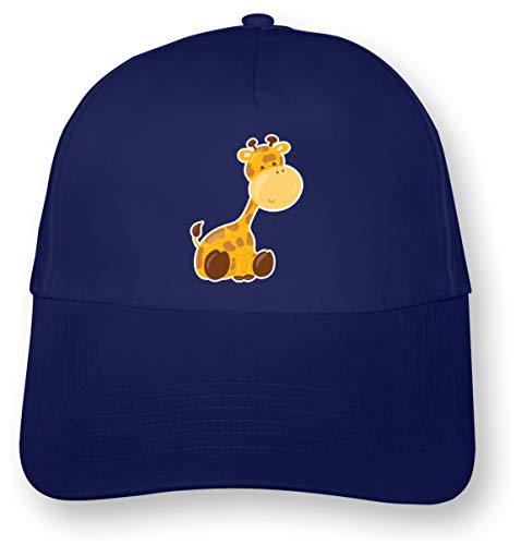 Samunshi® Kinder Kappe Süße Giraffe Mütze Cap Kindermütze Kids Junior Original 5 Panel Cap OneSize royal blau/Farbiger Aufdruck