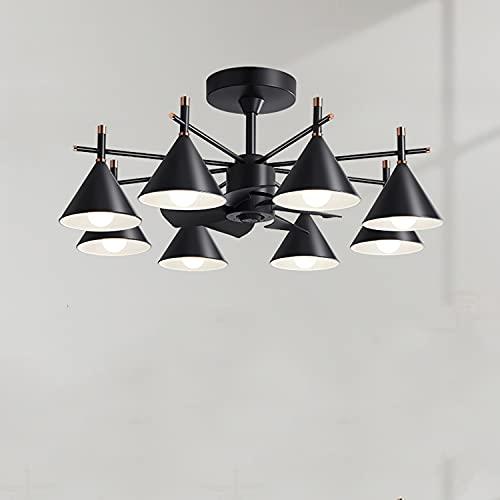 SZSBLT Iluminación LED candelabro de Ventilador de Sala de Estar, luz de Ventilador de Techo Restaurante araña Retro de Estilo Industrial Integrado, Motor de Cobre