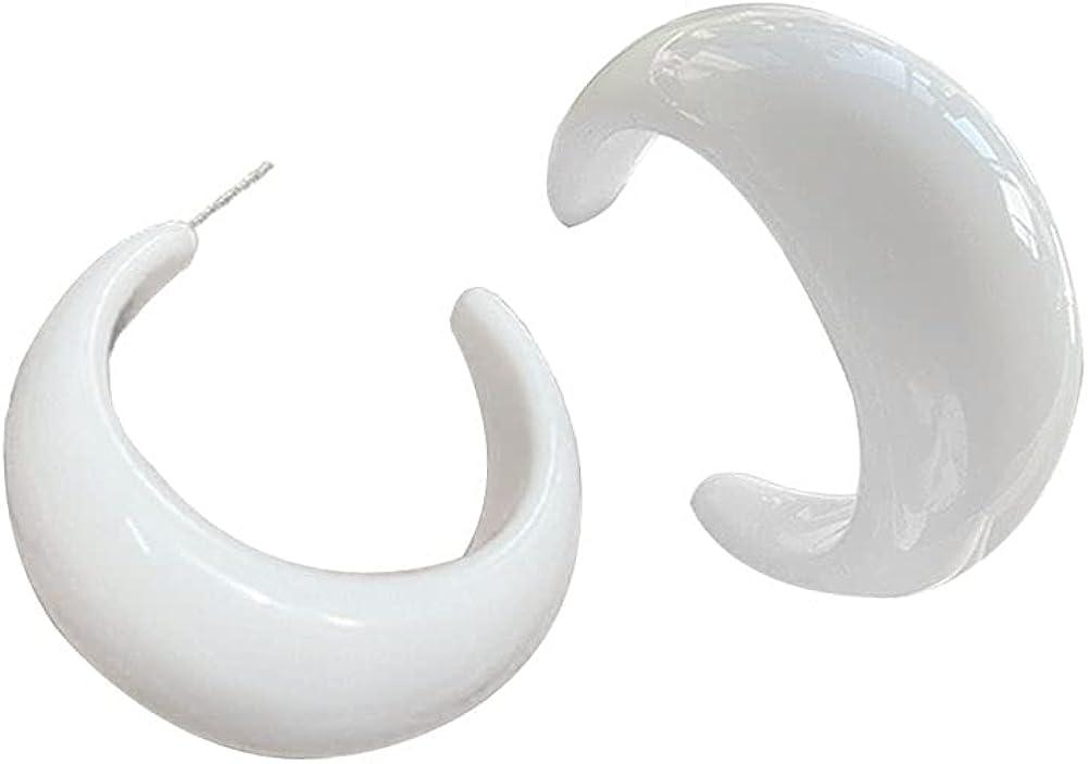 Vintage Open Circle Hoop Earrings for Women Chunky Acrylic Resin C Hoop Dangle Drop Earrings Teen Girls Jewelry Gift