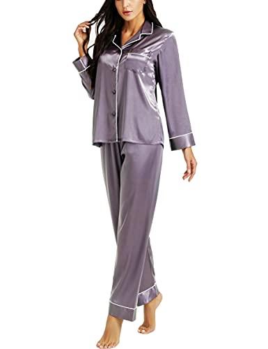 Womens Silk Satin Pajamas Set Gray M