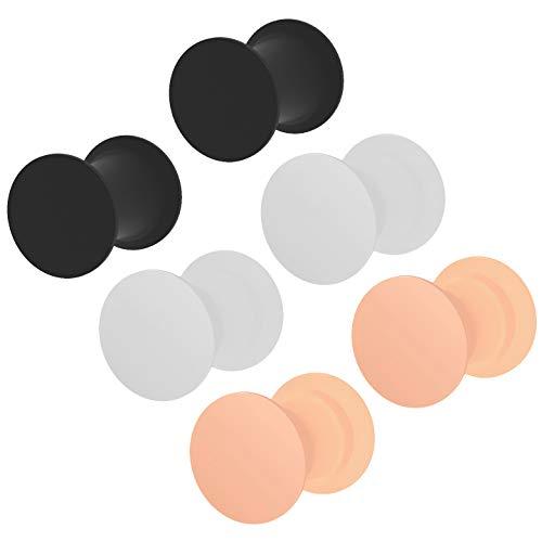 3 paar 2g oor plug huid wit zwart siliconen dubbele flare oorbellen zachte massieve gauges oren tunnel piercing sieraden