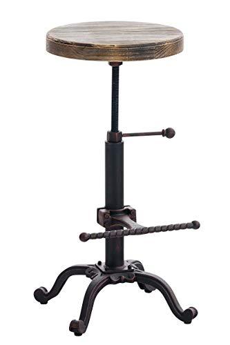 Taburete Industrial Carson con Asiento De Madera I Taburete Vintage Regulable En Altura I Silla Alta con Estructura De Metal I Color:, Color:Bronce