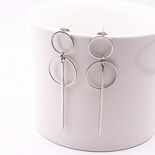 LEIXNDPLBO Fashion Long Slope Geometric asymmetry Rhinestone circle earrings earring for women Gift Party Wedding,4