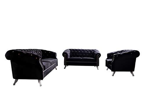 Mirjan24 Polstergarnitur Sheffield 3+2+1, Vintage Look Sessel + Zwei Sofas, Wohnlandschaft, Retro Couch, Couchgarnitur, Sofagarnitur, Polstersofas,...