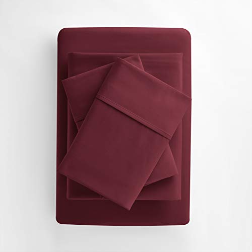 Egyptian Luxury Hotel Collection 4-Piece Bed Sheet Set - Deep Pockets, Wrinkle and Fade Resistant, Hypoallergenic Sheet and Pillow Case Set - Queen, Burgundy