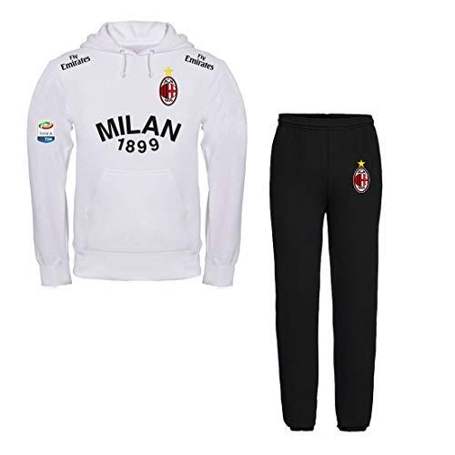 Print & Design Fleece Anzug Milan Sweatshirt WEIB + Schwarze Hosen - Nicht OFFIZIELL (XL)