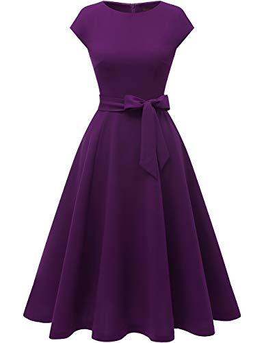 DRESSTELLS Midi 1950er Vintage Retro Rockabilly Kleid Damen elegant Hochzeit Cocktailkleid Grape XL