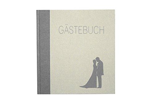 Gästebuch Aufdruck 'Gästebuch' Buchleinen in Altweiß/Hellgrau 23x25cm Handgebunden - andere...