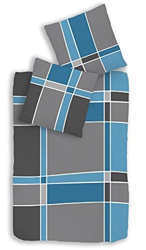 Träumschön Biber Bettwäsche 135x200 2tlg | Bettwäsche-Set im Karo Design | Biber Bettwäsche 135x200 cm & Kissen 80x80 | Kuschelige Bettwäsche 100% Baumwolle