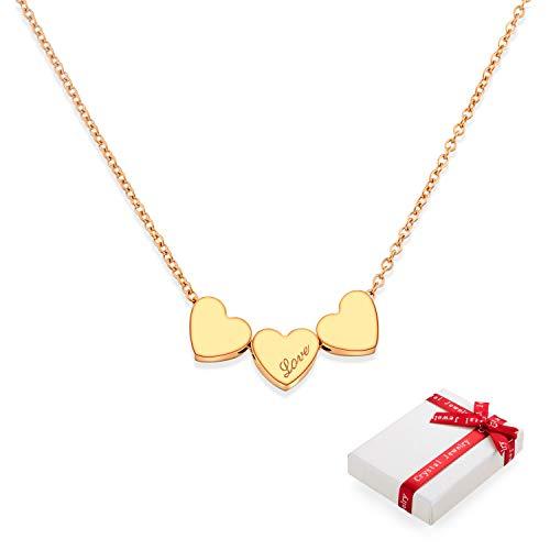 Collar de oro rosa con colgante de corazón para mujer con colgante de corazón de acero inoxidable de alta calidad con elegante paquete de regalo