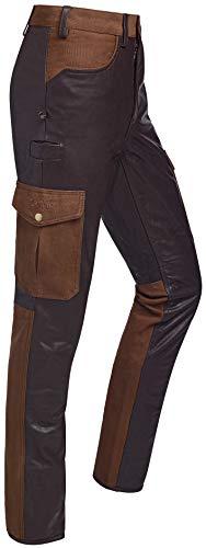La Chasse® Pantalon cargo en cuir de buffle Colmar avec empiècement en toile et 2 poches sur les jambes - Pantalon de chasse pour homme - Marron extrêmement résistant - Marron - W48