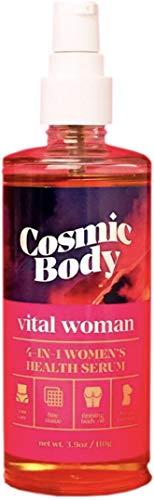 Cosmic Body, All Natural 4-in-1 Health Serum - Vital Woman, Yoni Care, Fine Tissue Care, Firming Body Oil, Breast Massage, 3.9 oz