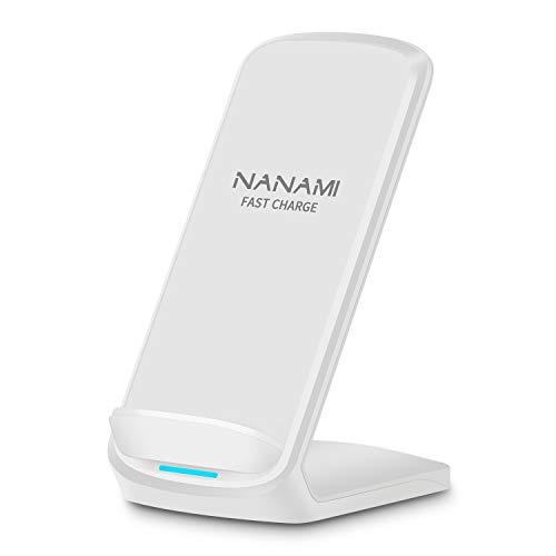 「2021年最新版」NANAMI ワイヤレス急速充電器 最大15W出力 (Qi認証) iPhone 12/12 Pro/SE (第2世代) /11 /11 Pro / Xs / Xs Max / XR/ X / 8 / 8 Plus、Galaxy S21(Ultra 5G) /S20 /S10 /S10+ /S9 / S9+ / S8 / S8+ など 他Qi機種対応 Quick Charge 2.0/3.0 USB Type-C端子 置くだけ充電 5W/7.5W/10W qi充電 ワイヤレスチャージャー お中元ギフト 日本語取扱説明書付 白