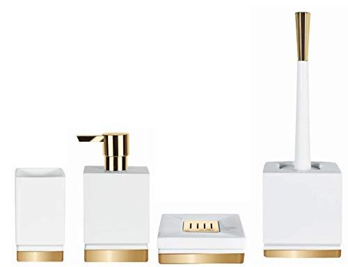 Spirella Badezimmer Set, 4-teiliges Badzubehör aus Porzellan Roma Seifenspender, WC Bürste, Seifenschale, Aufbewahrungsdose und Zahnputzbecher Weiß/Gold