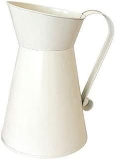 Mccng - Shabby Chic - Vintage Tall Shabby Chic Cream Vase Enamel Pitcher Jug Wedding Home Decor - Storage Mirror Wedding Hamper Quilts Accent Cabinet 8x10 Farmhouse Elegant Unicorn Curtain King U