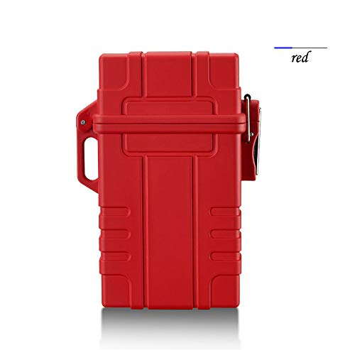 AKDSteel Slim Cigarette Case Box with USB Electronic Lighter Waterproof Cigarette Holder 20pcs Capacity red