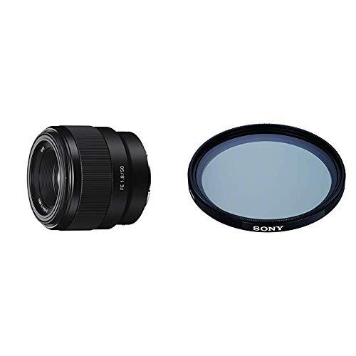 Sony SEL-50F18F Standard Objektiv (Festbrennweite, 50 mm, F1.8) schwarz + VF-49CPAM2 mehrfach beschichteter Schutzfilter, Polfilter 49mm + Sony VF-49MPAM Carl Zeiss T MC-Schutzfilter 49 mm schwarz