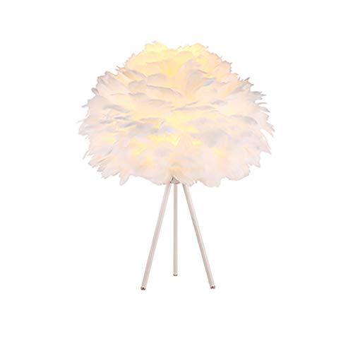 Ideahome Nórdico Creativo Pluma Lámpara Escritorio,Romántico Boda Casa Decoración E27 Lámpara De Mesa,De Moda Planchar Arte Lámpara Escritorio-Blanco 15.75