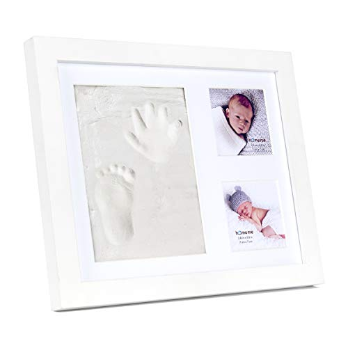 Baby Handprint Kit & Footprint Photo Frame for Newborn Girls and Boys, Baby Photo Album for Shower Registry, Personalized Baby Gifts, Keepsake Box Decorations for Room Wall Nursery Decor