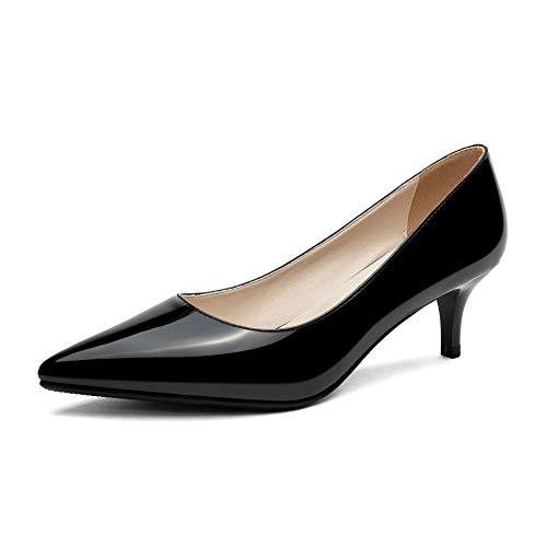 Odetina Damen Pumps Lackleder Stiletto Kitten Heels Klassische spitze Zehen Slip On Kleid Party Schuhe, Schwarz (schwarz), 40 EU