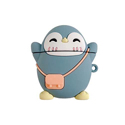 SevenPanda für Airpods 2nd Hülle, 3D Niedlicher Cartoon Airpods Hülle Weiches Silikon Kopfhörer Cases, AirPods Hülle Silikon Schutzhülle für Apple Airpods 1st / 2nd Case (Rucksack Pinguin Dunkelblau)