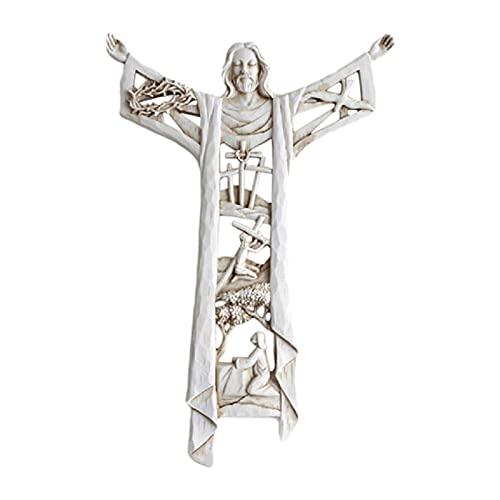 Kruzifix Wandbehang Kreuz für Wand, Harz Jesus Kreuz, Auferstehter Christus, Heilige Dreifaltigkeit, religiöse Wanddekoration, Geschenke