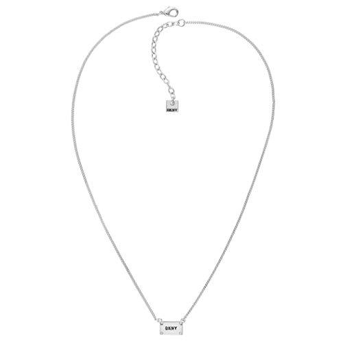 DKNY Donna Karan Plackard Logo Necklace with Swarovski Crystal