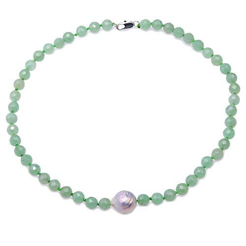 JYX Jade-Halskette aus Jade 8-8,5 mm facettierter runder grüner Jadestein mit großer unregelmäßiger weißer Perlenkette für Damen, 45,7 cm