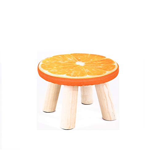 LJZslhei Kleiner Schemel-hölzerner Haushalts-Kleiner Stuhl-Mode-Schemel kreatives kleines Bank-Orangen-Muster