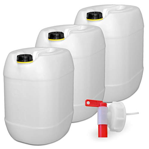 plasteo 3er Set: 30 Liter Getränke u.Trinkwasserkanister Wassertank Behälter Natur mit 1 Hahn und 3 Schraubdeckel (DIN 61) | Lebensmittelecht | Tragbar | Indoor und Outdoor | BPA Frei