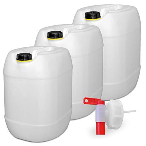 plasteo 3er Set: 30 Liter Getränke- Wasserkanister Natur mit 1 Hahn und 3 Schraubdeckel (DIN 61) | Lebensmittelecht | Tragbar | Indoor und Outdoor | BPA Frei
