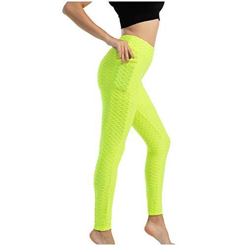 NAQUSHA Mujeres Butt Lifting Scrunch Pocket Yoga Pantalones Burbuja Textura Alta Elástico Elevación de Cadera Delgado Activewear Nido de abeja Leggings