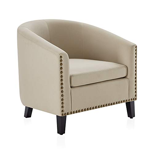 BELLEZE Modern Tub Barrel Accent Chair Upholstered Linen with Nail Head, Beige