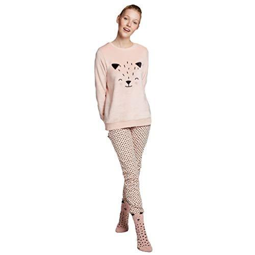 GISELA-Pijama de Invierno de Mujer - Topos (XL)