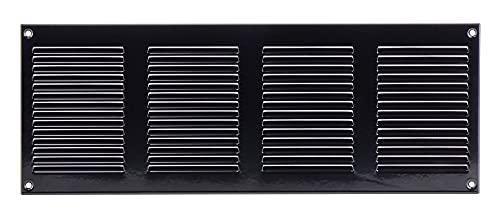 Griglia di ventilazione nera 400 x 150 mm in lamiera di acciaio con protezione dagli insetti – griglia di protezione dagli agenti atmosferici