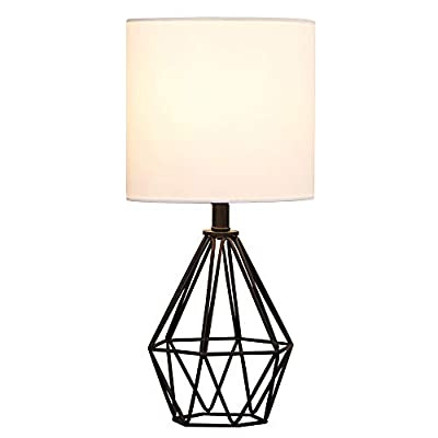 COTULIN Black Living Room Table Lamp,Modern Desk Lamp with TC Fabric Shade and Hollowed Out Base for Bedroom Study Office,Small Bedside Nightstand Lamp for Farmhouse