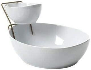DSA Trade Shop Serving Bowl Set Dining Serving Bowls Set With Gold Rack
