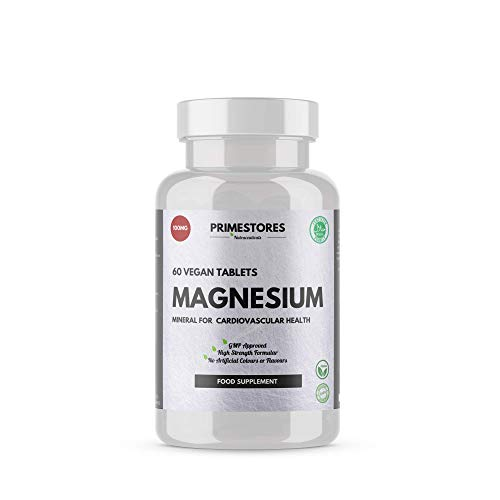 Magnesium Vitamin for Adults 100mg - 60 Vegan Powder Tablets - High Strength Halal Vegetarian Approved Better Health Supplement Pills by Primestores UK