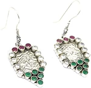PH Sterling Silver 925 dangle Earring red green onyx and Zircon Stone length 2 icnh