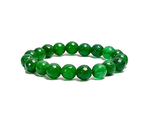 Pulsera de piedras semipreciosas hecha a mano, pulsera de cuentas, pulsera Strech, pulsera de hebras, piedra preciosa, pulsera de cuentas de 8 mm, pulsera de hombres, Ónix verde de grado A,