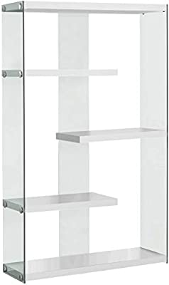 """Monarch Specialties I Tempered Glass Bookcase, 60"""", Glossy White"""