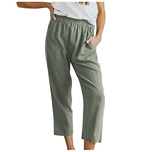 Pistaz Pantalones de lino para mujer, ligeros, con cintura elástica y 2 bolsillos, para el tiempo libre, Verde militar., 36W